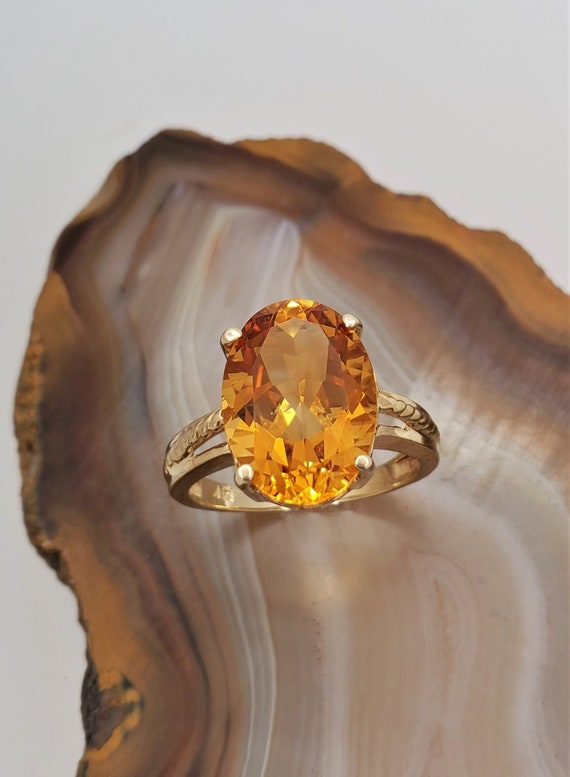 Vintage Citrine ring, 14k yellow gold solitaire r… - image 1