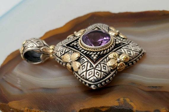 Vintage sterling silver amethyst pendant, silver … - image 2