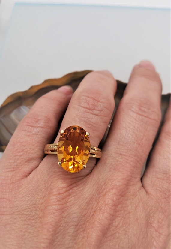Vintage Citrine ring, 14k yellow gold solitaire r… - image 3