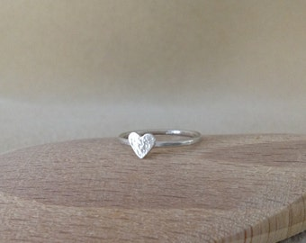 Love Heart Sterling silver dainty ring  Choose your texture finish