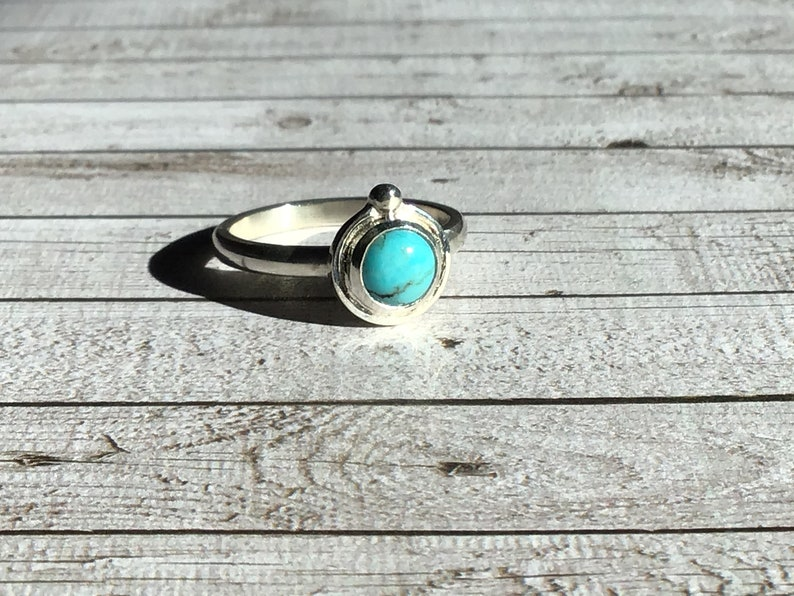 stone Kingman Turquoise Sterling and Fine silver gemstone ring 6mm