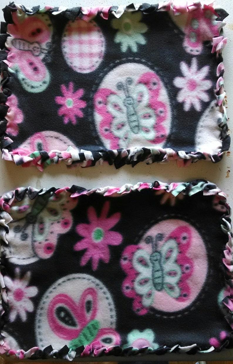 Butterfly No Sew Braided Edge Fleece Blanket 16 x11