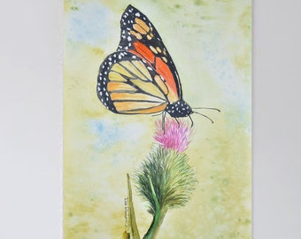 Original Painting of Monarch Butterfly on Thistle. Butterfly Art. From a Deb Babcock Watercolor Painting Original.