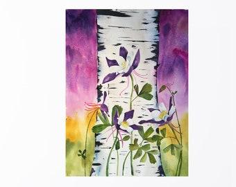 Print of my original painting of Colorado Blue Columbine and Aspen Tree