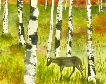 Aspen Tree Art Horse Art Aspen Forest Wall Decor Horse Decor Colorado art Landscape Watercolor Painting Aspen Tree Dining Room Wall Art