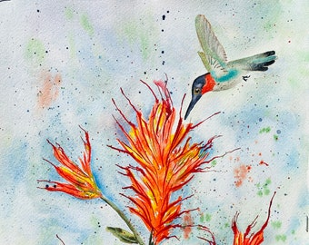 Hummingbird and Indian Paintbrush Fine Art Print. From Original Painting by Deb Babcock. Office Decor. Anniversary Gift.