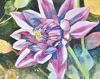 Modern Fine Art Purple Dahlia Original Watercolor Painting