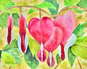 Painting of Bleeding Hearts Flowers. Original Floral Art. Wall Decor Watercolor Painting