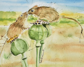 Poppy Love Original Painting of Field Mice on Poppy Seed Heads