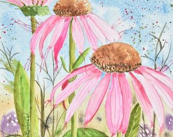 Coneflower original watercolor painting by Deb Babcock, Coneflower art, Flower painting, Modern Wall Art
