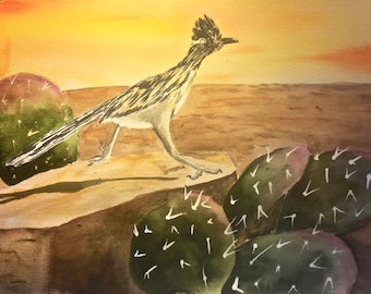 Roadrunner Art Original Watercolor Painting Desert Art Prickly Pear Cactus Decor Southwestern Decor Southwest Art Bird Wall Art Cactus Decor