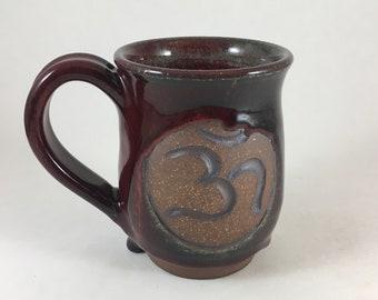 Om Mug, Handmade Pottery, Yoga Mug, Stoneware Om Cup, Tea Mug, Ready to Ship!!