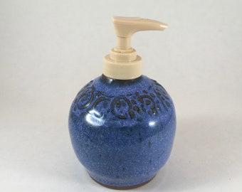 Ceramic Dispenser, Pottery Soap or Lotion Dispenser, Blue Lotion Bottle, Stoneware Dispenser, Handmade Pottery, Ready to Ship