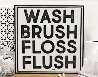 Kids Bathroom Wall Decor, Bathroom Wall Decor, Bathroom Signs, Wash Brush Floss Flush, Farmhouse Bathroom Decor, Bathroom Wood Sign