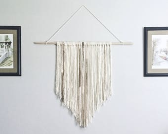 Large Neutral Bohemian Yarn Wall Hanging Tapestry