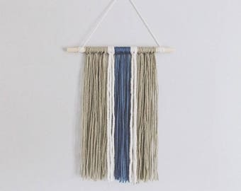 Taupe and Blue Small Yarn Wall Hanging