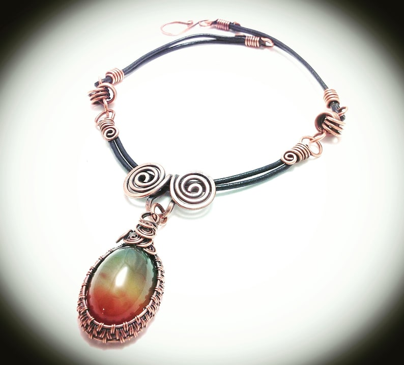 double color agate pendant Necklace Copper necklace. Wire copper jewelry leather cording with hook clasp Weaved copper wire