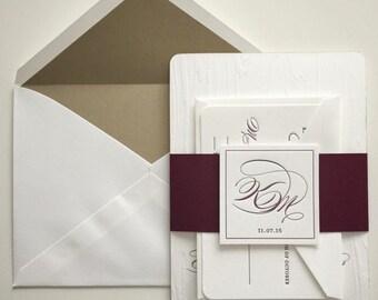 Rustic Glam Letterpress Wedding Invitation Sample - Blind Letterpress Woodgrain Impression