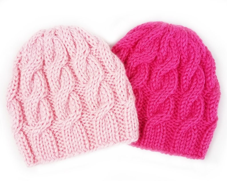 a66d3c5ebc71 Cable Knit Hat Baby Girl Hats Pink Newborn Beanie Hot Pink