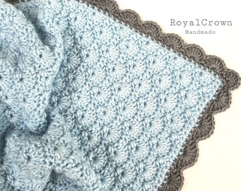 Baby boy crochet blanket, Newborn photo prop, Blue baby bedding, Royal Crown Handmade