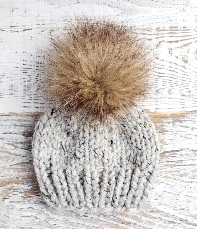 cb16412554770 Newborn Pom Pom Hat Chunky Knit Beanie Faux Fur PomPom   Etsy