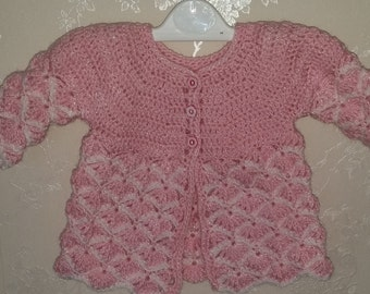 Baby girl's matinee jacket, newborn matinee jacket, 0-3 mths matinee jacket, pink and white matinee jacket, shell pattern matinee jacket
