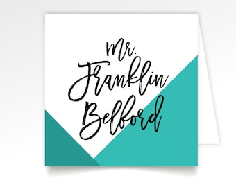 Geometric Calligraphy Escort Tent Card Printed . Large Black Script Blue Teal White Copper . Any Custom Color or Font . Folded Square Cards