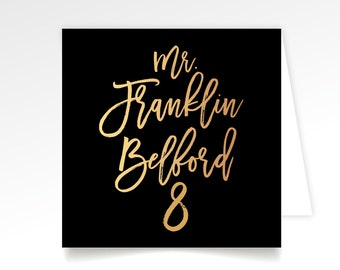 Big Calligraphy Escort Tent Card Printed . Large Black & White Wild Script Any Custom Color or Font . Folded Wedding Guest Name Place Cards