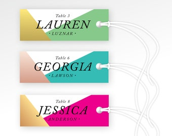 Escort Tags & Strings . Geometric Wedding Favor Gift Tags . Vintage Modern Italic Serif Gold Magenta Mint Teal Rose PRINTED Guest name Tags