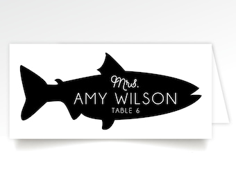 Menu Icon Escort Cards Black & White Calligraphy Graphic Animals Cow Fish Chicken Pork Vegan Allergy Kids Table . Printed Long Tent Cards