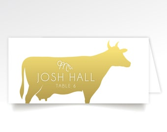 Menu Icon Escort Cards Gold & White Beef Cow Calligraphy Graphic Animals Fish Chicken Pork Vegan Allergy . Printed Long Tent Cards
