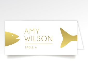 Food Icon Escort Card Fish Cow Chicken Vegetable Pork Faux Gold Rose Gold Copper Dinner Entree Choices . Printed & Folded Long Tent Cards .