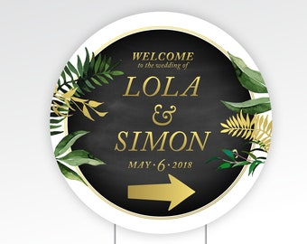 Directional Circle Yard Sign & Step Stake . 23 x 23 in Printed Sign 1/4in Durable Corrugated Plastic . Double-sided Arrow points both ways!