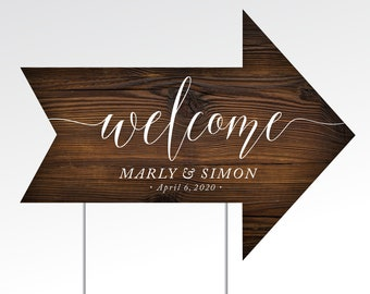 Directional Wood Arrow Yard Sign & Step Stake . 18 x 24 in Printed Sign Heavy Duty Corrugated Plastic . Double-sided Arrow points both ways!