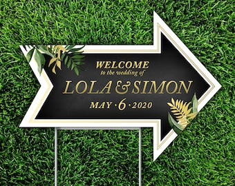 Directional Arrow Yard Sign & Step Stake . 18 x 24 in Printed Sign . 1/4in Durable Corrugated Plastic . Double-sided Arrow points both ways!
