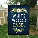 WHITE Easel Wood 5ft Floor Display Large Wedding Sign Stand . Holds Clear Acrylic Chalkboard Foam Board Canvas Wood Signage up to 30 x 40 in
