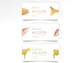 Entree Animal Escort Card Printed Long Folded Tent Cards . Rustic Barn Farm Country Cook Out Wedding Dinner Beef Cow Salmon Fish Chicken Veg