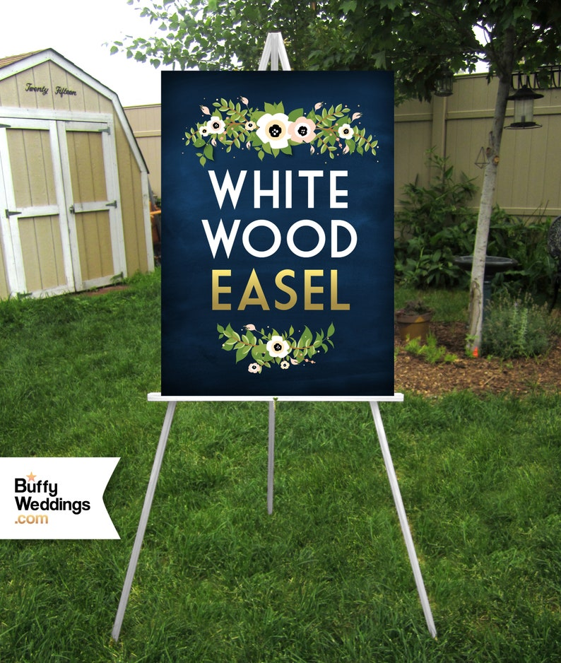 White or Full Color Calligraphy on 38 Birch Stained Wood Starry Night Sky Galaxy Star Wars Wedding Wood Welcome Sign /& Easel