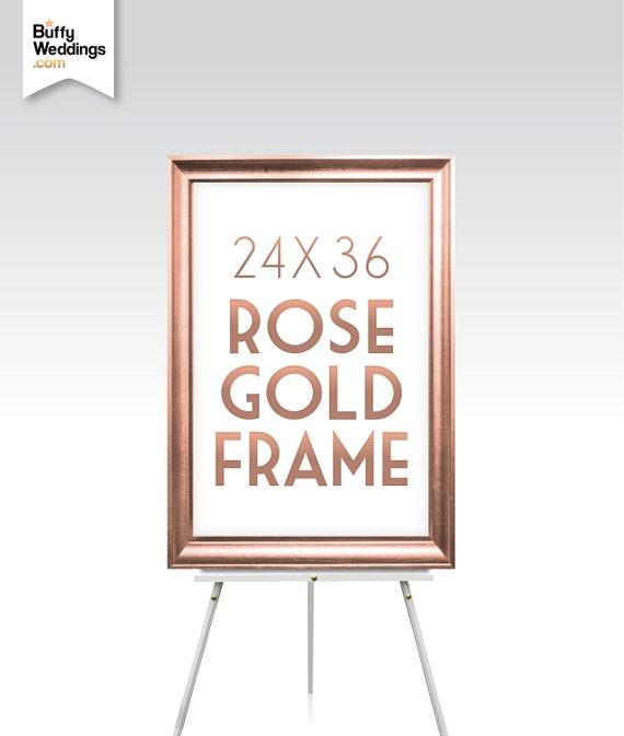 Rose Gold Frame 24 X 36 Large Maple Wood Wedding Sign Etsy