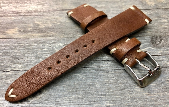 Leather Watch Strap, 20mm mens watch strap, Brown Watch Strap, New Year Gift for husband, Leather watch strap 19mm, Custom Watch band