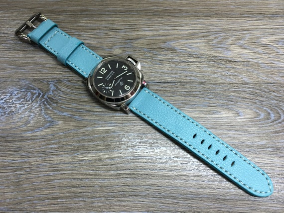 Leather watch band, leather watch strap, 24mm watch strap, Pale Blue watch band, 24mm watch band, 26mm strap, watch band, FREE SHIPPING
