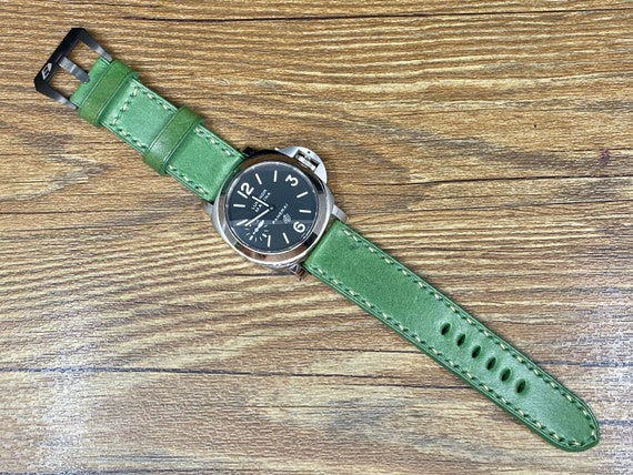 Green Leather Watch Straps 24mm, Dual Color Stitching, Mens Wrist Watch Band 26mm, Personalise Christmas Gift Ideas, Retro Watch Straps