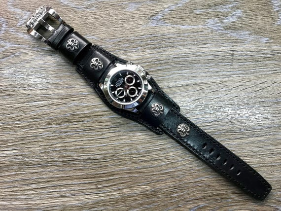 Cuff Strap, Leather watch band, Full bund strap, Cuff Watch band, Black, 20mm, Leather Watch Strap, Cuff band, FREE SHIPPING