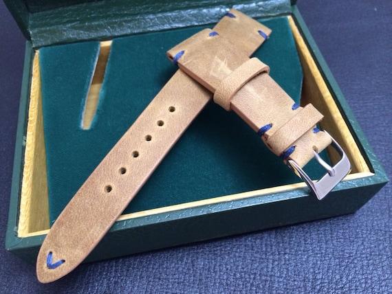 Handmade real leather watch band, Vintage look  Khaki Strap (Blue Stitching), Beige - 18mm/19mm/20mm lug width