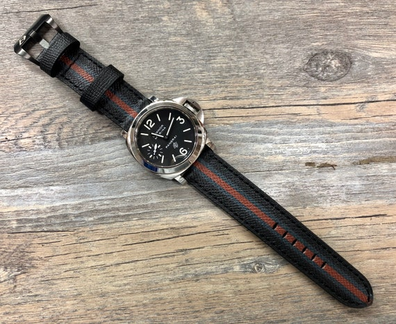 Leather Watch Straps, Watch Strap 24mm, Black Epsom Leather Watch Strap, 26mm leather watch band with stripe, Personalise, Easter gift idea