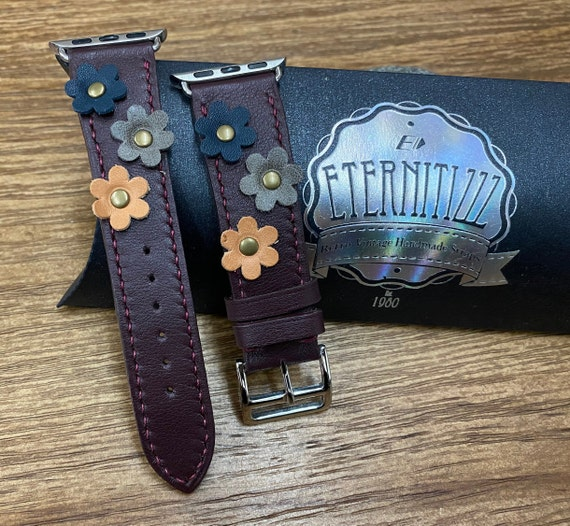 Apple Watch Band in Purple Red Genuine Leather for Series 6 40mm, Apple Watch Single Tour Rallye with Flower Decoration, Gift Ideas for her