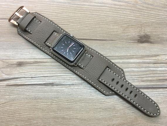 Apple Watch Band | Apple Watch Strap | Vintage Leather Cuff Watch Band | Elephant Gray Leather Cuff Watch Strap For Apple Watch 42mm