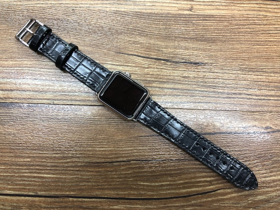 Apple Watch Band Single Tour Rallye, Space Gray Apple Watch 40mm 44mm, Series 5, Black Alligator leather Watch Strap, Personalise Gift Idea