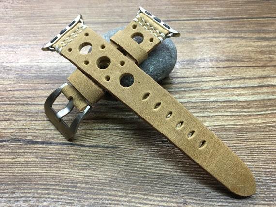 Apple Watch Band | Apple Watch Strap | Real Leather racing strap | Rally watch Strap For Apple Watch 38mm & Apple Watch 42mm