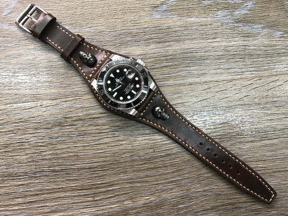 Full bund strap, Leather watch band, Brown, Handmade, Leather Cuff watch Strap 20mm, Leather Watch Strap, Cuff band, Skull, FREE SHIPPING